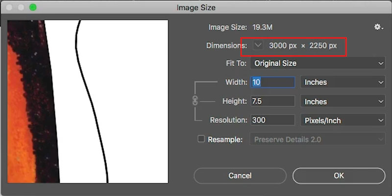 image size vs resolution in photoshop