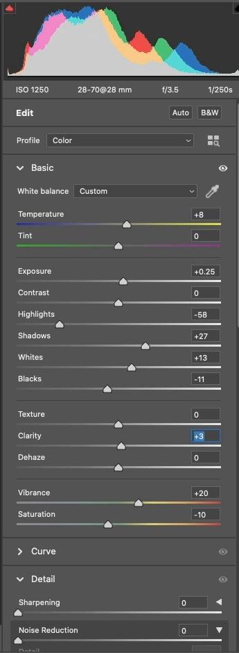 adjusting color in ACR