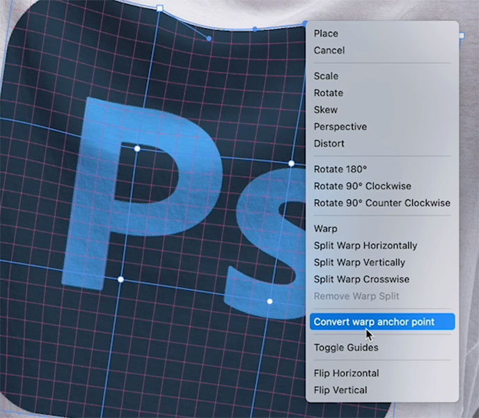 new feature to seperate handles on photoshop warp