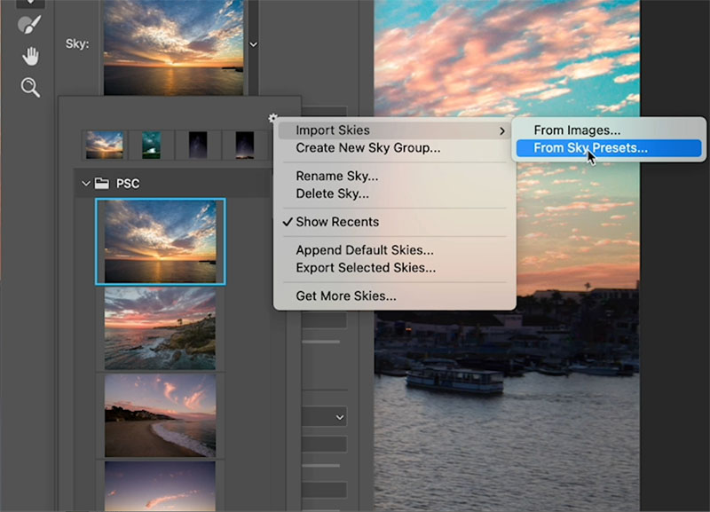 load skies into photoshop