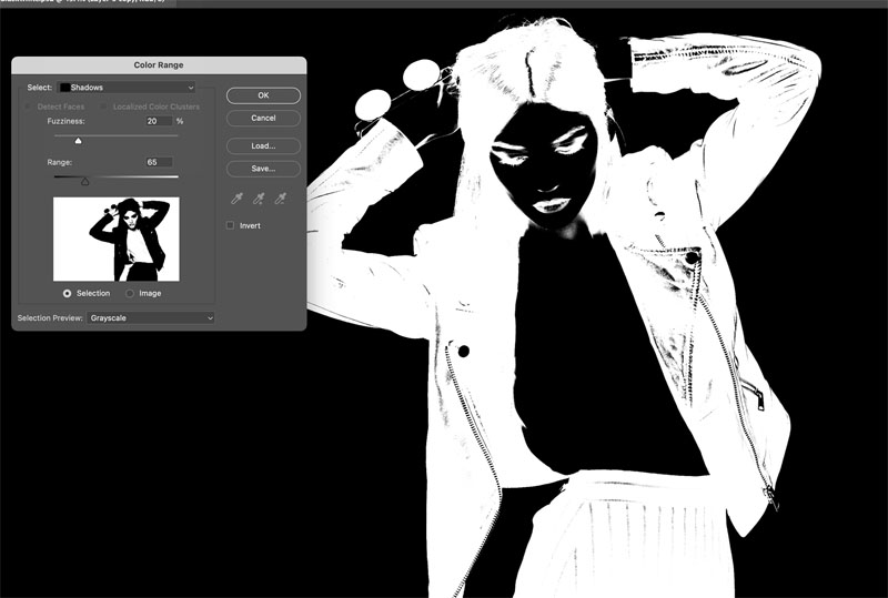 how to select black in photoshop