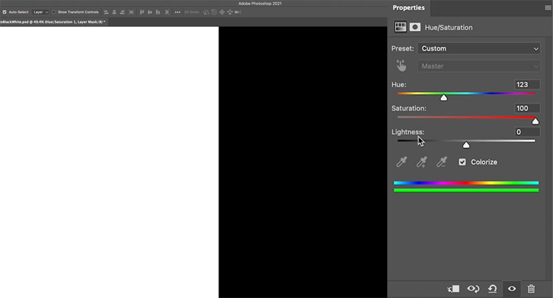 change black to color in photoshop 2021